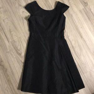 J.Crew Front Pleat Black Dress with V-Neck Back